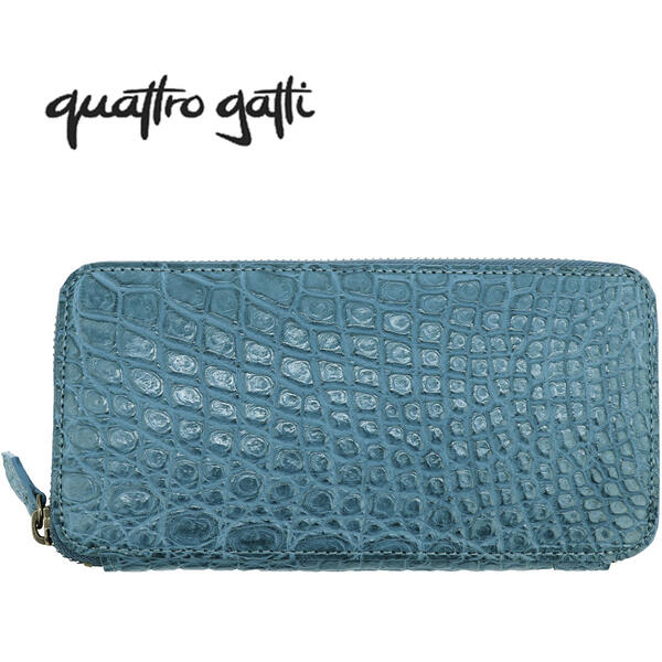 QUATTRO GATTI クアトロガッティ クロコダイル ラウンドジップ 長財布 8101 BLUE JEAN(ブルージーン)