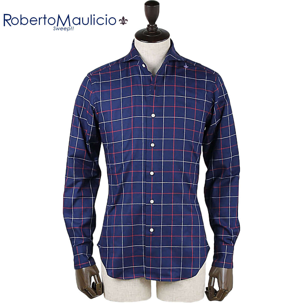 ROBERTO MAULICIO SWEEP!! ロベルトマウリシオ スウィープ ウィンドウペン オックスフォードシャツ Oxford Check (ネイビー)