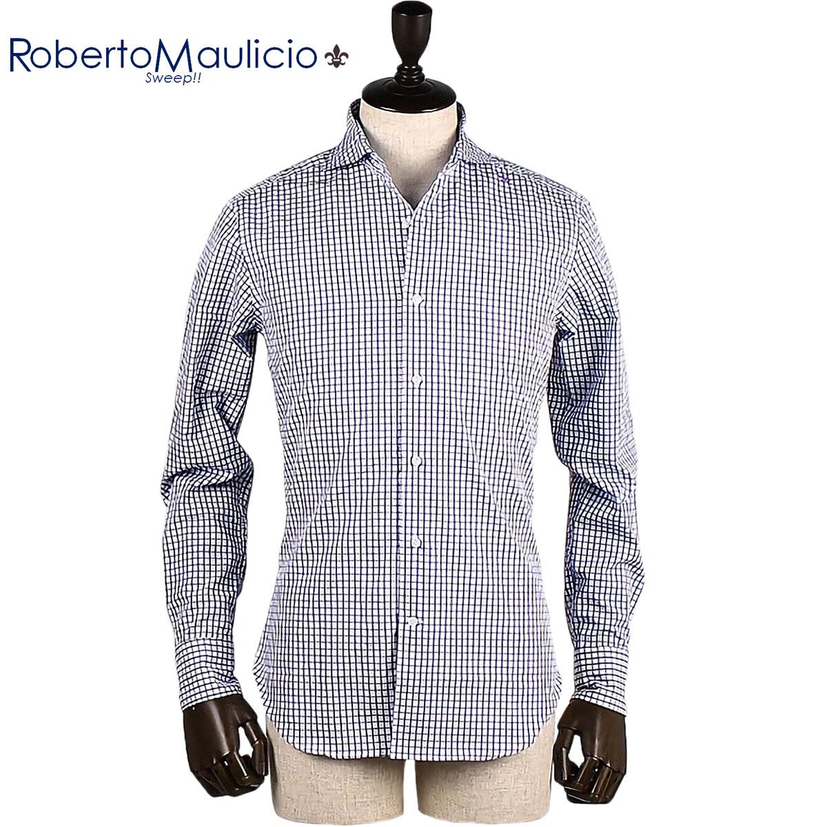 コットンシャツ メンズ (ホワイト) ROBERTO ラインチェック柄 ロベルトマウリシオ SWEEP!! MAULICIO スウィープ