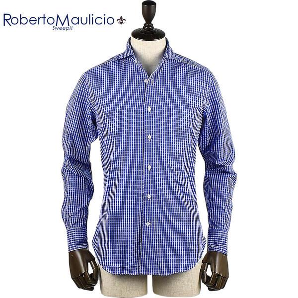 ROBERTO MAULICIO SWEEP!! ロベルトマウリシオ スウィープ メンズ ラインチェック柄 コットンシャツ (ブルー)
