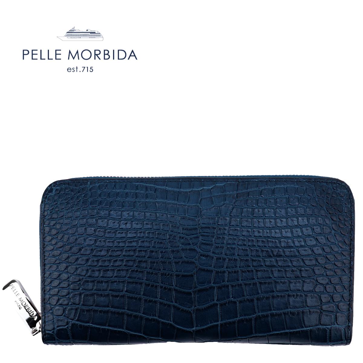 国内正規品 即日発送 PELLE MORBIDA ペッレモルビダ クロコダイル ラウンドジップ 長財布 PMO-CRS010 BLUE(ブルー)