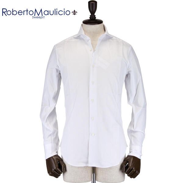 ROBERTO MAULICIO SWEEP!! ロベルトマウリシオ スウィープ メンズ ロイヤルオックスフォード ワイドカラードレスシャツ Royal Oxford (ホワイト)