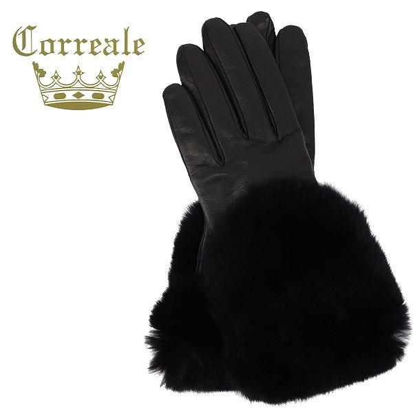 Correale gloves コレアーレグローブス レディース シープスキン カシミヤ レッキスファー付き グローブ 手袋 CRL-0048 (ブラック)