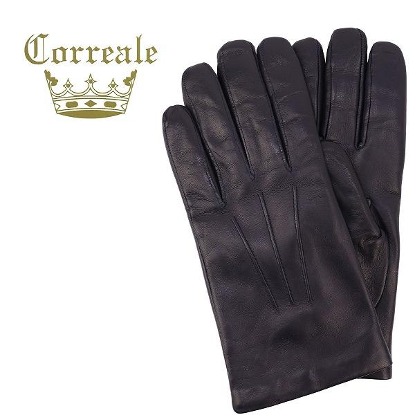 Correale gloves コレアーレグローブス メンズ シープスキン ナッパレザー カシミアライニング グローブ CRM-6001(ネイビー)