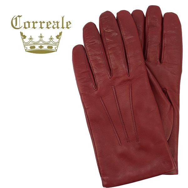 Correale gloves コレアーレグローブス メンズ シープスキン ナッパレザー カシミアライニング グローブ CRM-6001(レッド)