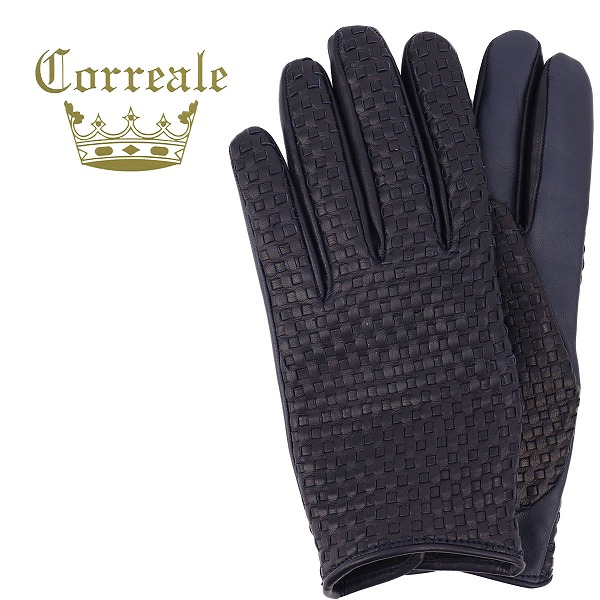 Correale gloves コレアーレグローブス メンズ イントレチャート タッチパネル対応 シープスキン ナッパレザー カシミアライニング グローブ CRM-6039(ネイビー)