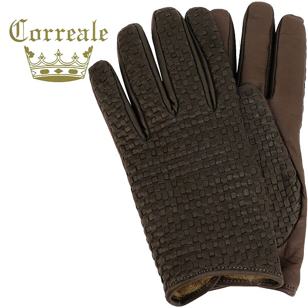 Correale gloves コレアーレグローブス メンズ イントレチャート タッチパネル対応 シープスキン ナッパレザー カシミアライニング グローブ CRM-6039(トープグレー)