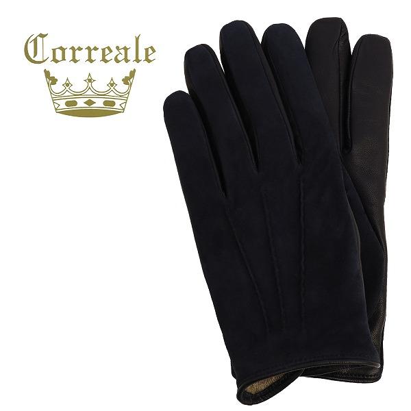Correale gloves コレアーレグローブス メンズ ラムスエード×シープスキン ナッパレザー カシミアライニング グローブ CRM-6013(ネイビー)