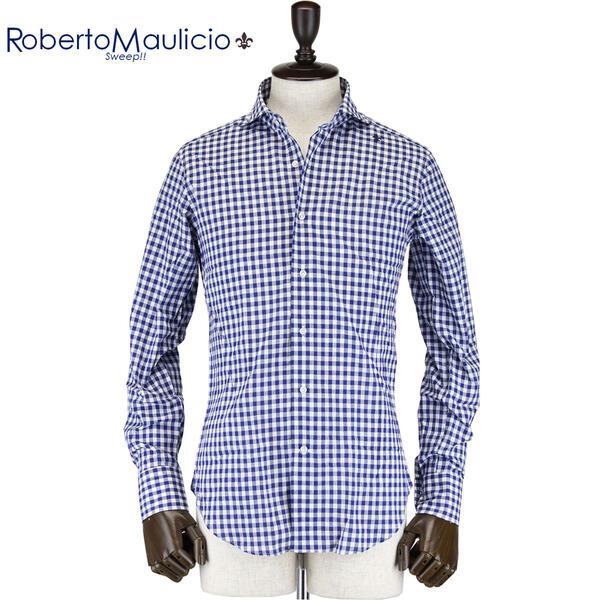 ROBERTO MAULICIO SWEEP!! ロベルトマウリシオ スウィープ メンズ ギンガムチェック柄 コットンリネン ホリゾンタルカラーシャツ Cotton/Linen Gingham(ネイビー)