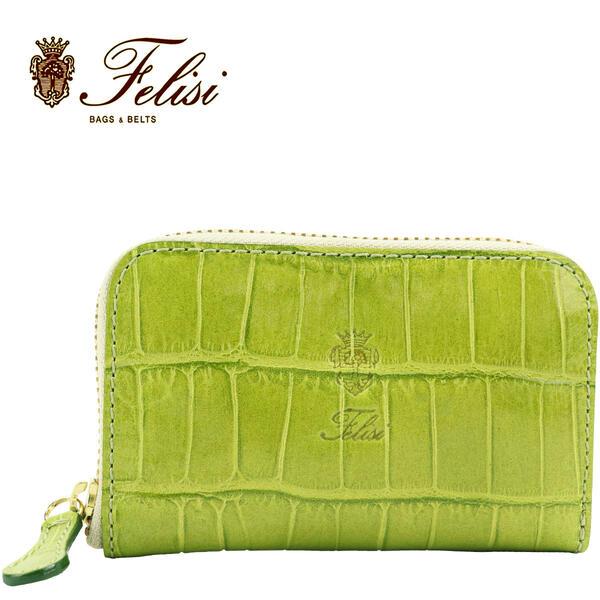 Felisi フェリージ クロコダイル型押し エンボスレザー コインケース カードケース 905/SA GREEN(グリーン)