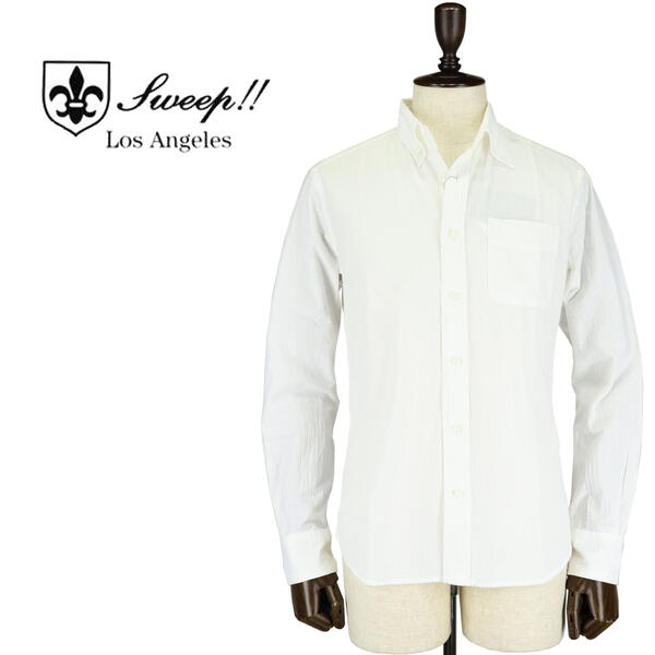 SWEEP!! LosAngeles スウィープ ロサンゼルス メンズ コットンシアサッカー ボタンダウンシャツ Seersucker WHITE(ホワイト)