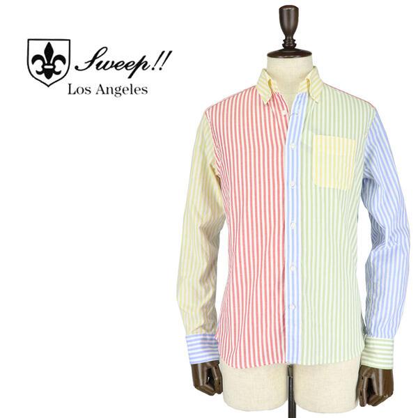 SWEEP!! LosAngeles スウィープ ロサンゼルス メンズ コットン クレイジーパターン ストライプ柄 ボタンダウンシャツ Stripe Multi(マルチカラー)