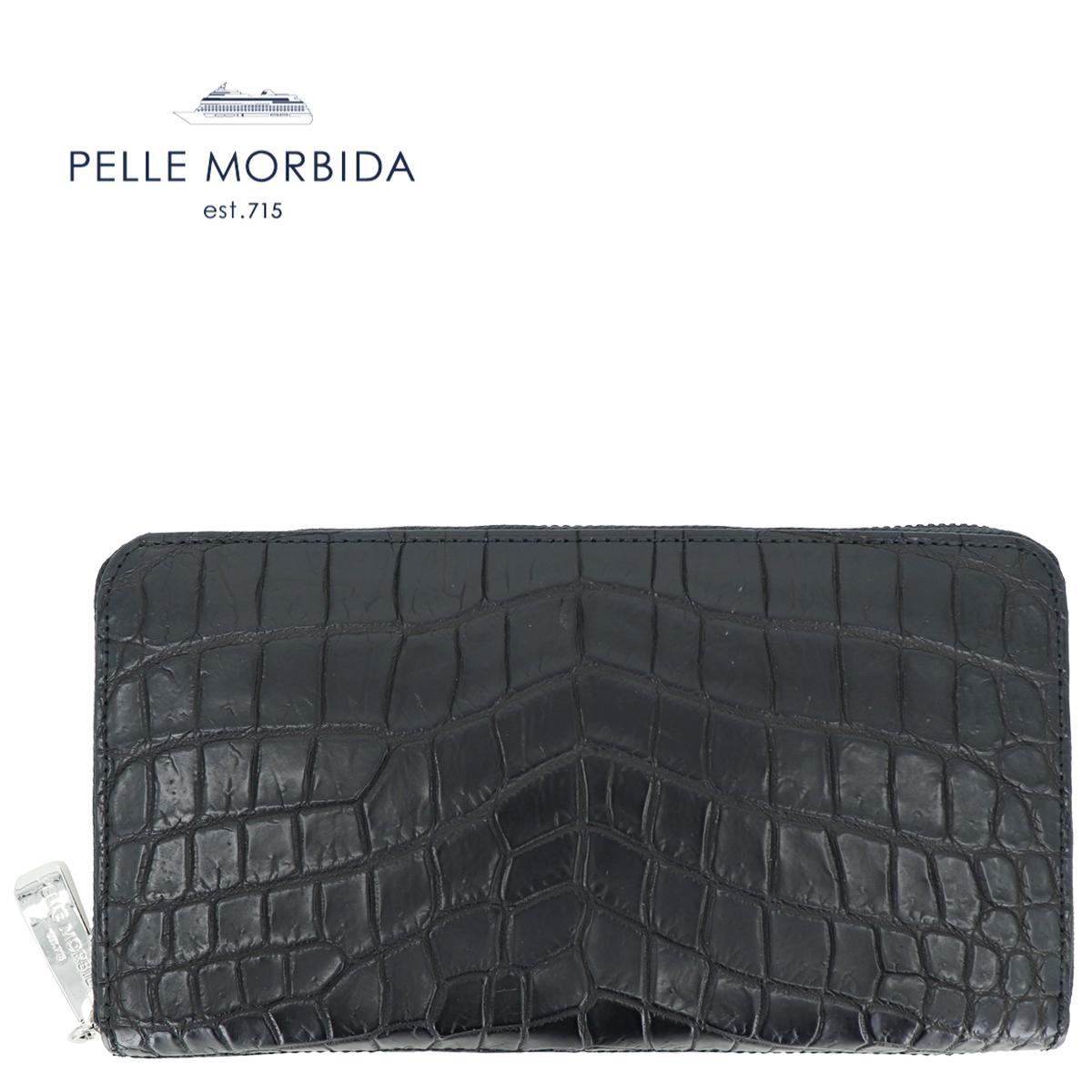 PELLE MORBIDA ペッレモルビダ クロコダイル ラウンドジップ 長財布 PMO-CRS010 BLACK(ブラック)