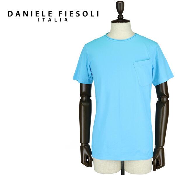 DANIELE FIESOLI ダニエレフィエゾーリ メンズ コットン クルーネック 半袖Tシャツ DF7250(ブルー)