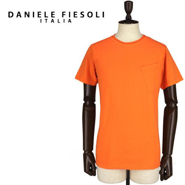 DANIELE FIESOLI ダニエレフィエゾーリ メンズ コットン クルーネック 半袖Tシャツ DF7250(オレンジ)