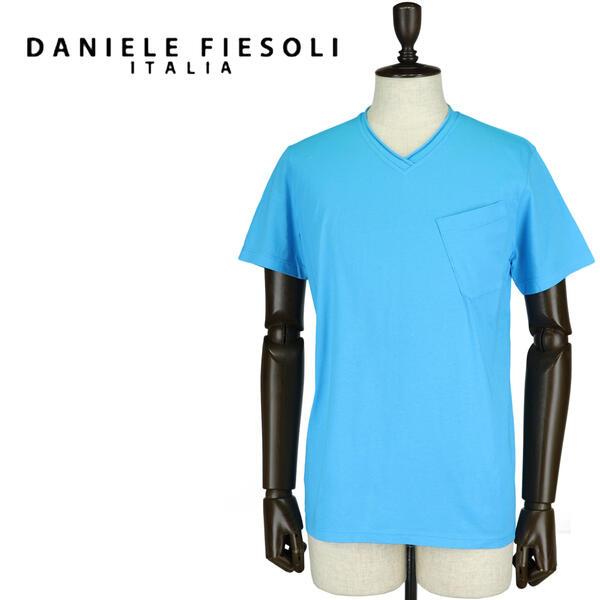 DANIELE FIESOLI ダニエレフィエゾーリ メンズ コットン Vネック 半袖Tシャツ DF7251(ブルー)