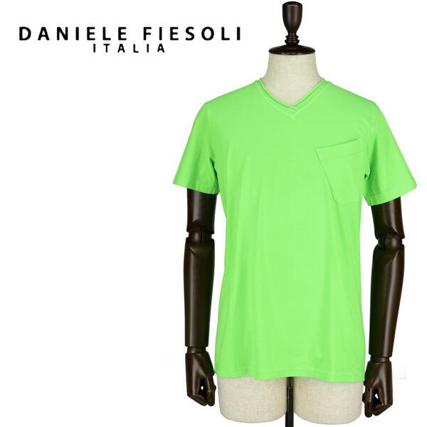 DANIELE FIESOLI ダニエレフィエゾーリ メンズ コットン Vネック 半袖Tシャツ DF7251(グリーン)