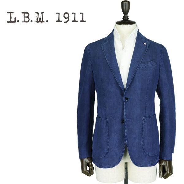 L.B.M.1911 エルビーエム1911 メンズ 製品染め リネン 2B シングルジャケット JACK JK AL29705789 006 (ネイビー)