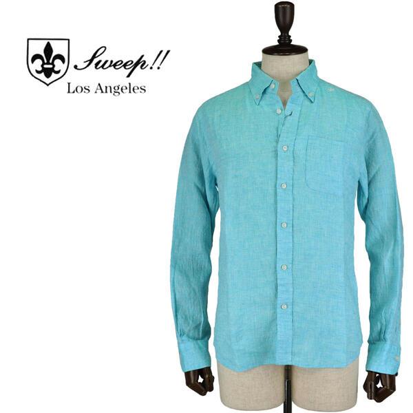 SWEEP!! LosAngeles スウィープ ロサンゼルス メンズ フレンチリネン ボタンダウンシャツ French Linen TURQUOISE(ターコイズブルー)