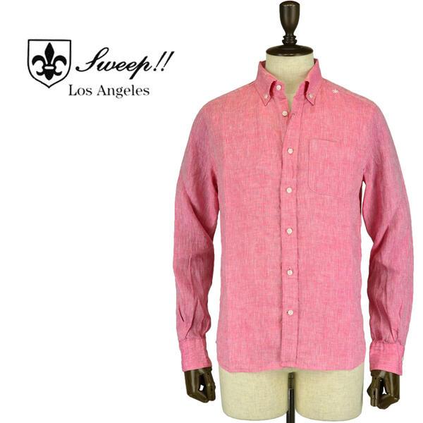 SWEEP!! LosAngeles スウィープ ロサンゼルス メンズ フレンチリネン ボタンダウンシャツ French Linen FUCHSIA(ピンク)
