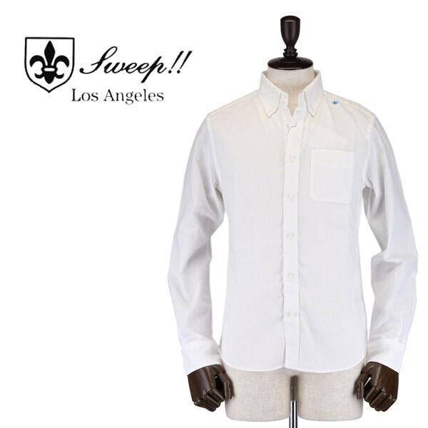 SWEEP!! LosAngeles スウィープ ロサンゼルス メンズ コットンリネン ボタンダウンシャツ Cotton/Linen WHITE(ホワイト)