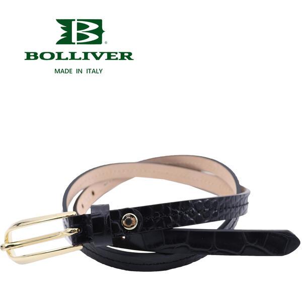 BOLLIVER ボリバー レディース レザー クロコ型押し ベルト 280493(ブラック)【送料込】