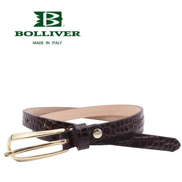 BOLLIVER ボリバー レディース レザー クロコ型押し ベルト 280493(チョコ)【送料込】