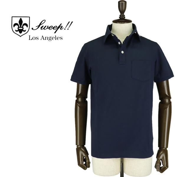 SWEEP!! LosAngeles スウィープ ロサンゼルス メンズ ミニワッフル コットン ポロシャツ Pocket Polo MARINE(ネイビー)【送料込】