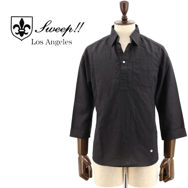 SWEEP!! LosAngeles スウィープ ロサンゼルス メンズ リネンコットン 8分袖 プルオーバー カプリシャツ Cotton/Linen CT BLACK(ブラック)