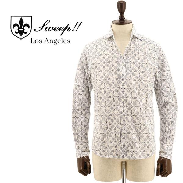 SWEEP!! LosAngeles スウィープ ロサンゼルス メンズ コットン ペイズリー柄 ホリゾンタルカラーシャツ Paisley HZ WHITE(ホワイト)