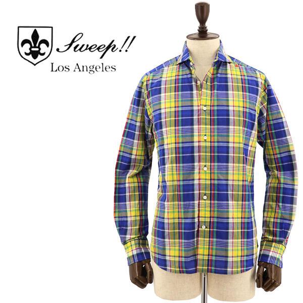 SWEEP!! LosAngeles スウィープ ロサンゼルス メンズ コットン マドラスチェック柄 ホリゾンタルカラーシャツ Madras HZ NAVY(ネイビー×イエロー)
