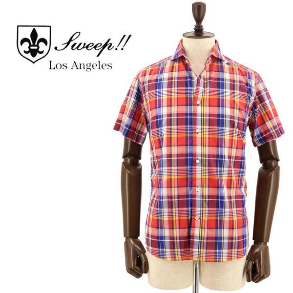 SWEEP!! LosAngeles スウィープ ロサンゼルス メンズ コットン マドラスチェック柄 半袖 ホリゾンタルカラーシャツ S/S Madras HZ RED(レッド×ネイビー)