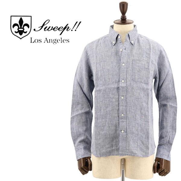 国内正規品 即日発送 SWEEP!! LosAngeles スウィープ ロサンゼルス メンズ フレンチリネン ボタンダウンシャツ French Linen NAVY(ネイビー)