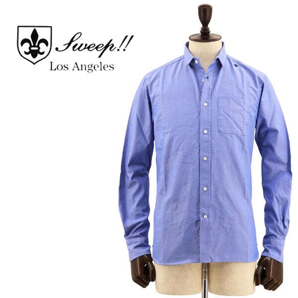 国内正規品 即日発送 SWEEP!! LosAngeles スウィープ ロサンゼルス メンズ スタンドカラー オックスフォード シャンブレーシャツ OxfordChambrey BLUE(ブルー)