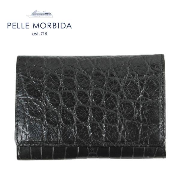 PELLE MORBIDA ペッレモルビダ PMO-CRS002 クロコダイル レザー 名刺入れ(ブラック) EXLT