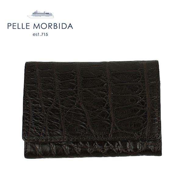 PELLE MORBIDA ペッレモルビダ PMO-CRS002 クロコダイル レザー 名刺入れ(ダークブラウン) EXLT