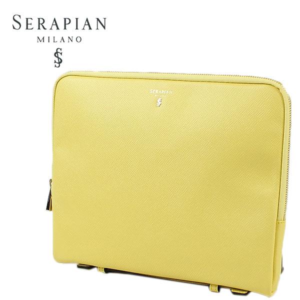SERAPIAN セラピアン 型押しレザー クラッチバッグ SEVOEULL6011-M26-A138 (イエロー)