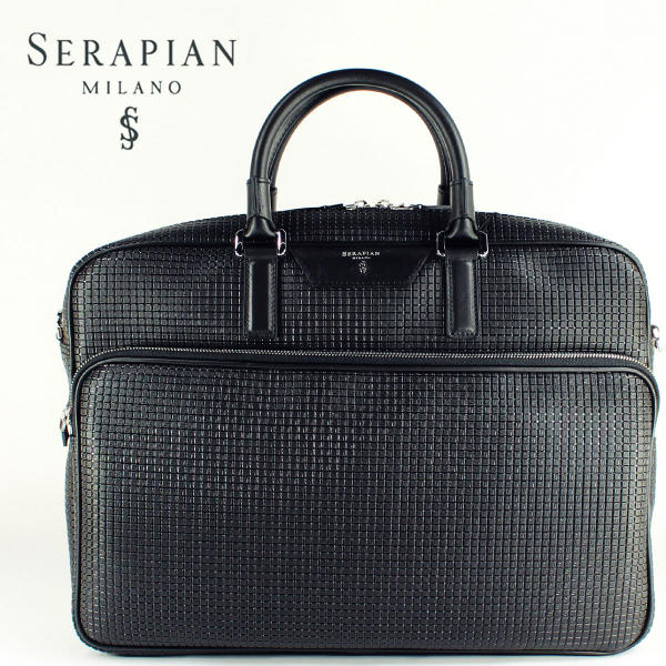 SERAPIAN セラピアン PVC型押し ブリーフケース SSTGAMLL6923M40DB06(ブラック)