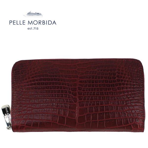 PELLE MORBIDA ペッレモルビダ クロコダイルレザー ラウンドジップ 長財布 PMO-CRS010 WIN (ワイン)