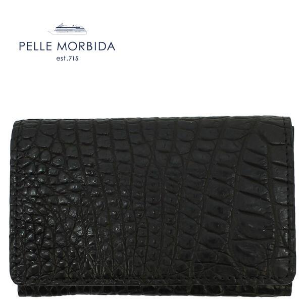 PELLE MORBIDA ペッレモルビダ クロコダイル レザー カードケース 名刺入れ PMO-CRS011 BLK (ブラック)