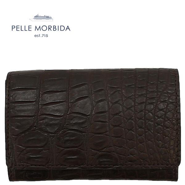 PELLE MORBIDA ペッレモルビダ クロコダイル レザー カードケース 名刺入れ PMO-CRS011 NIC (ダークブラウン)