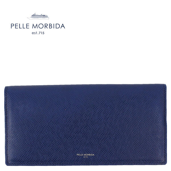 国内正規品 即日発送 人気海外一番 ペッレモルビダ PELLE MORBIDA 型押しレザー PMO-BA310 スリム長財布 BLU ブルー 商品追加値下げ在庫復活