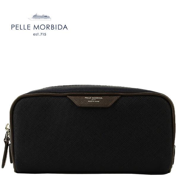 PELLE MORBIDA ペッレモルビダ CAPITANO キャピターノ リモンタナイロン ポーチ PMO-CA111(ネイビー×ダークブラウン)