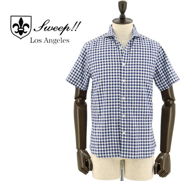 SWEEP!! LosAngeles スウィープ ロサンゼルス メンズ コットン オックスフォード ギンガムチェック柄 半袖ホリゾンタルカラーシャツ OX Gingham-HZ WHITE×NAVY(ホワイト×ネイビー)