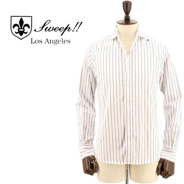 SWEEP!! LosAngeles スウィープ ロサンゼルス メンズ コットン オックスフォード ストライプ柄 ホリゾンタルカラーシャツ Oxford Stripe-HZ WHITE×NAVY(ホワイト×ネイビー)