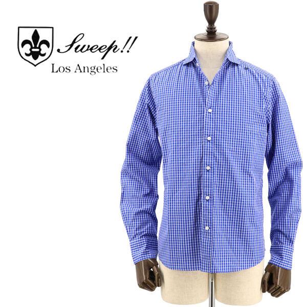 SWEEP!! LosAngeles スウィープ ロサンゼルス メンズ コットン ウィンドウペンチェック柄 ホリゾンタルカラーシャツ Windowpane-HZ BLUE(ブルー)