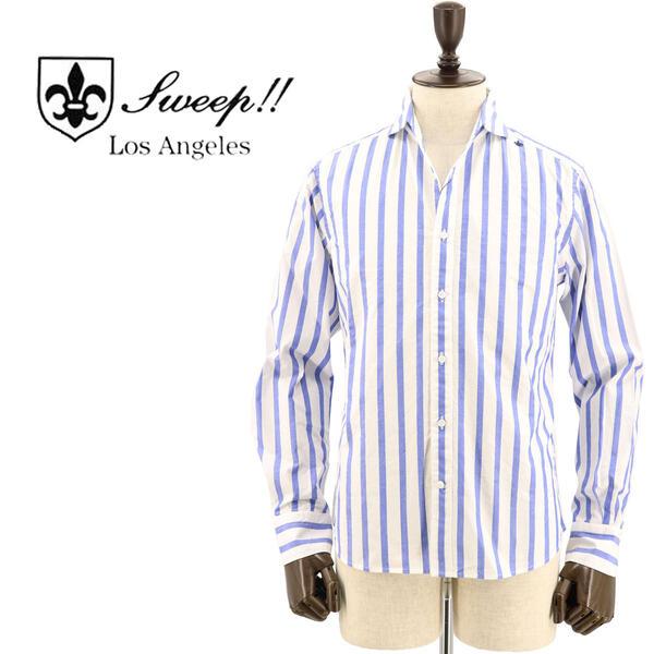 SWEEP!! LosAngeles スウィープ ロサンゼルス メンズ コットン ロンドンストライプ柄 ホリゾンタルカラーシャツ London Stripe-HZ BLUE(ブルー)