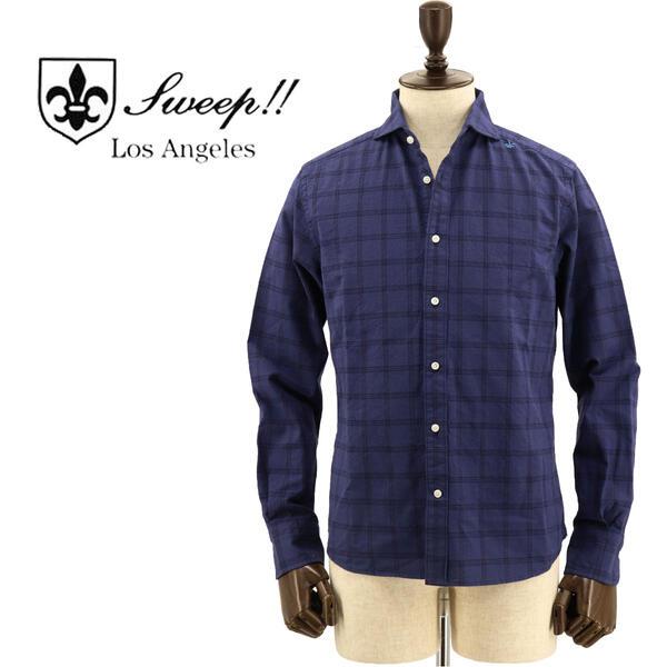 SWEEP!! LosAngeles スウィープ ロサンゼルス メンズ コットン ドットチェック柄 ホリゾンタルカラーシャツ Dot Check-HZ NAVY(ネイビー)