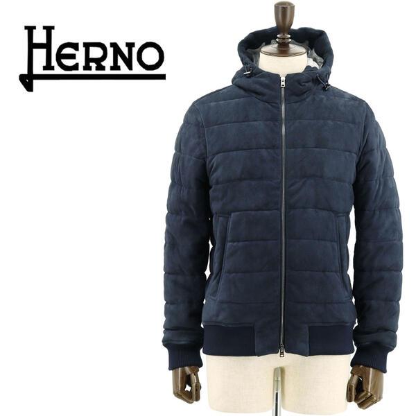 国内正規品 即日発送 HERNO ヘルノ RESORT LINE リゾートライン メンズ ゴートスエード レザーブルゾン PL002UR-18058/O 9209(ネイビー)