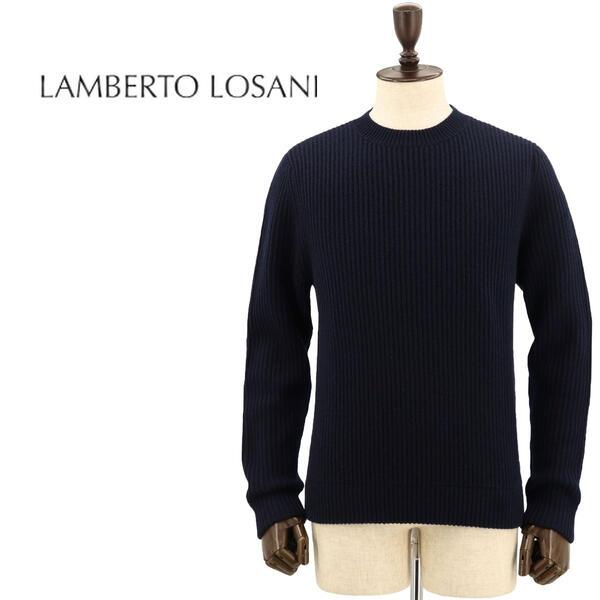 国内正規品 即日発送 LAMBERTO LOSANI ランベルト ロザーニ メンズ カシミヤ クルーネック ニットセーター H288096/616 (ネイビー)